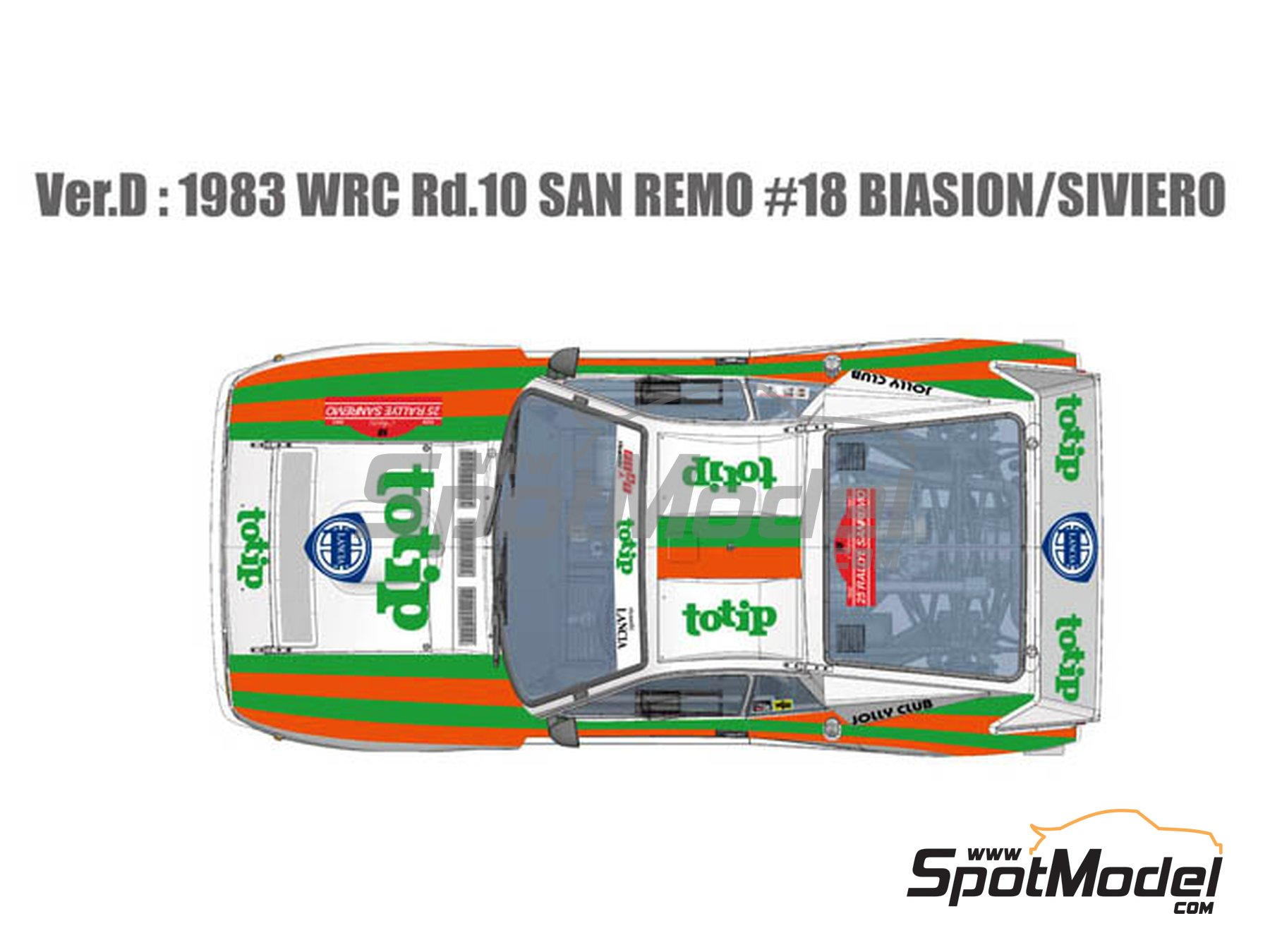 Image 2: Lancia Rally 037 Jolly Club Totip - Sanremo Rally 1983 | Model car kit in 1/12 scale manufactured by Model Factory Hiro (ref. MFH-K514, also K-514)