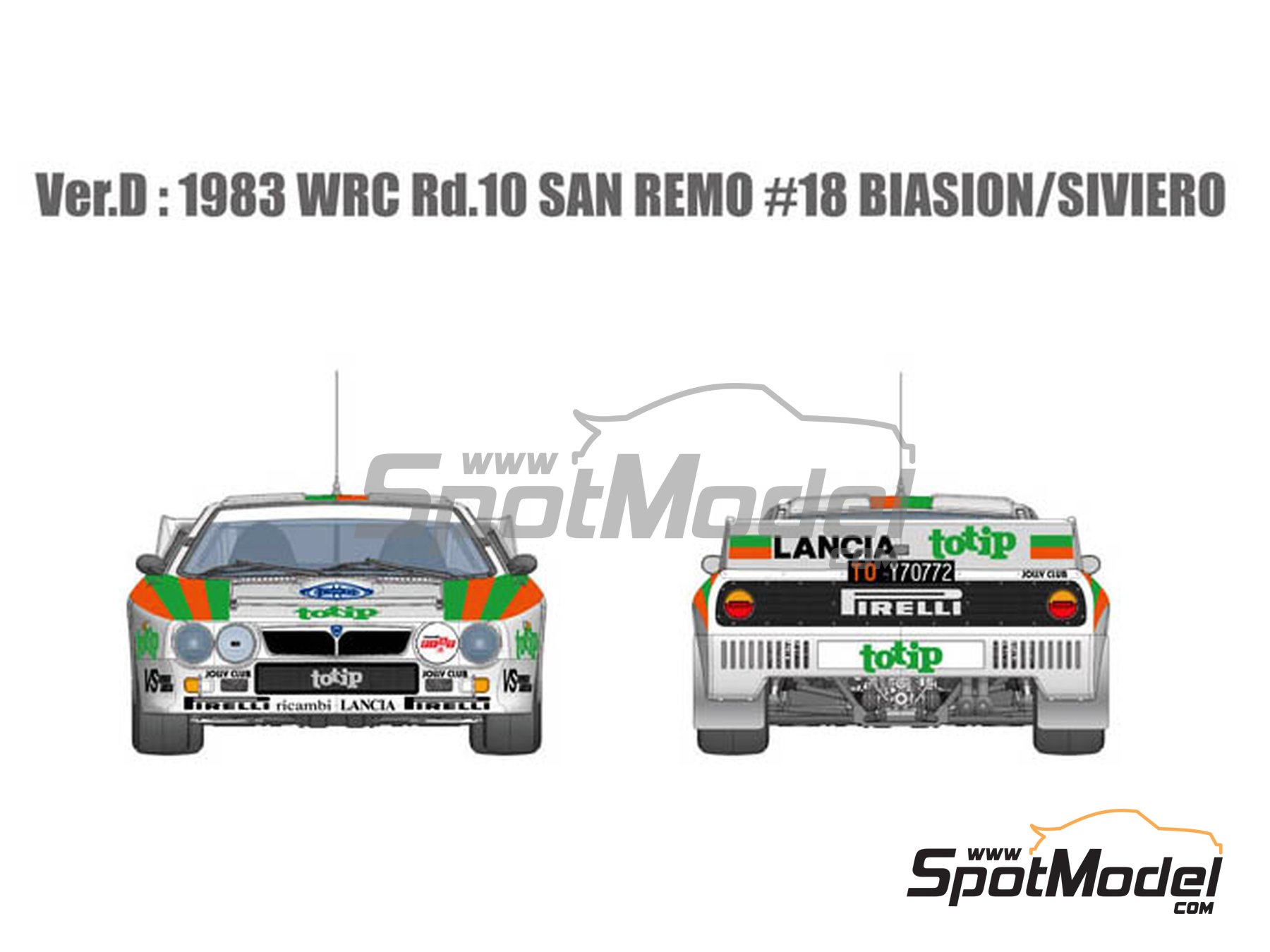 Image 3: Lancia Rally 037 Jolly Club Totip - Sanremo Rally 1983 | Model car kit in 1/12 scale manufactured by Model Factory Hiro (ref. MFH-K514, also K-514)