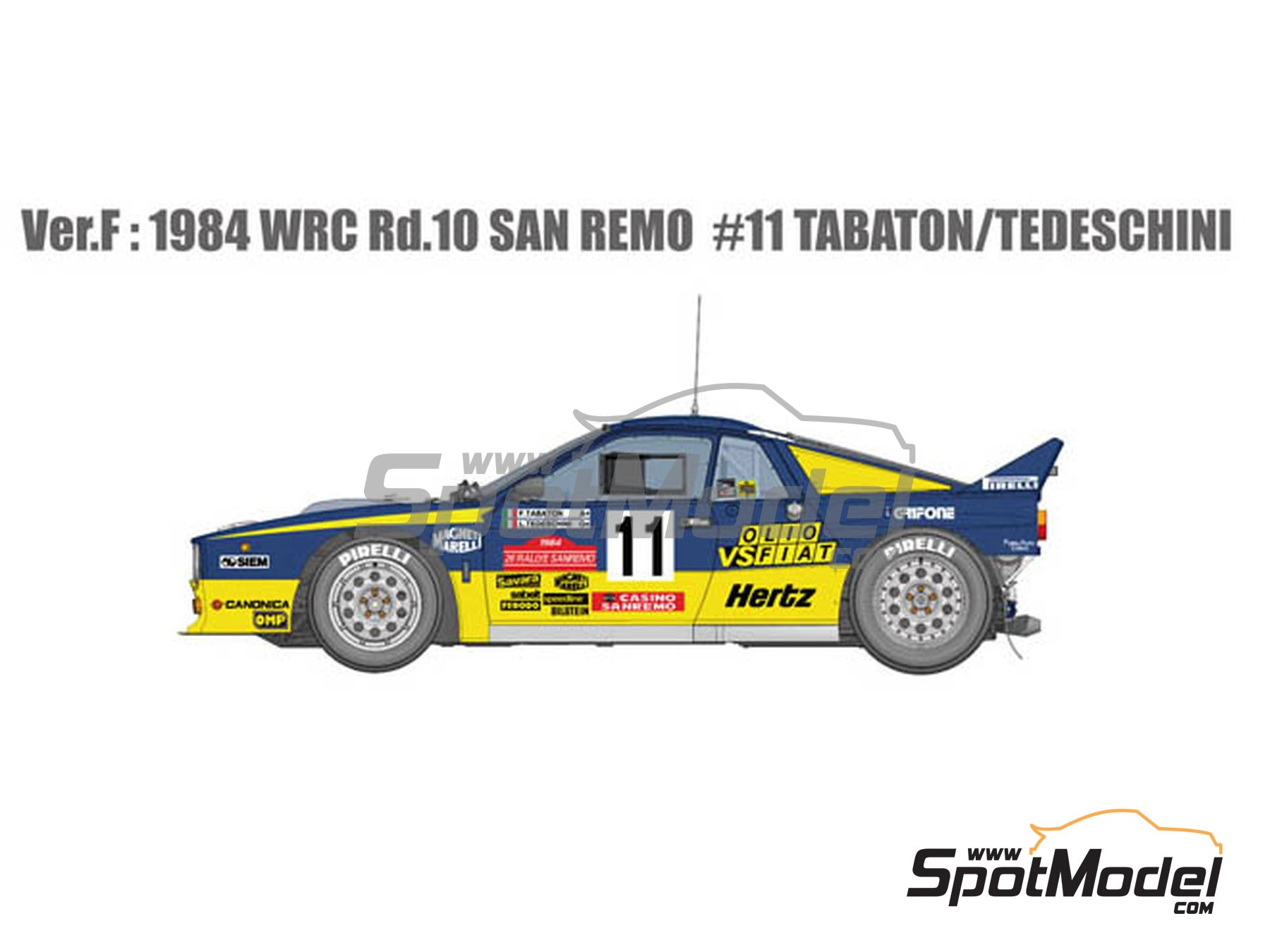 Image 1: Lancia Rally 037 Grifone - Sanremo Rally 1984 | Model car kit in 1/12 scale manufactured by Model Factory Hiro (ref. MFH-K516, also K-516)