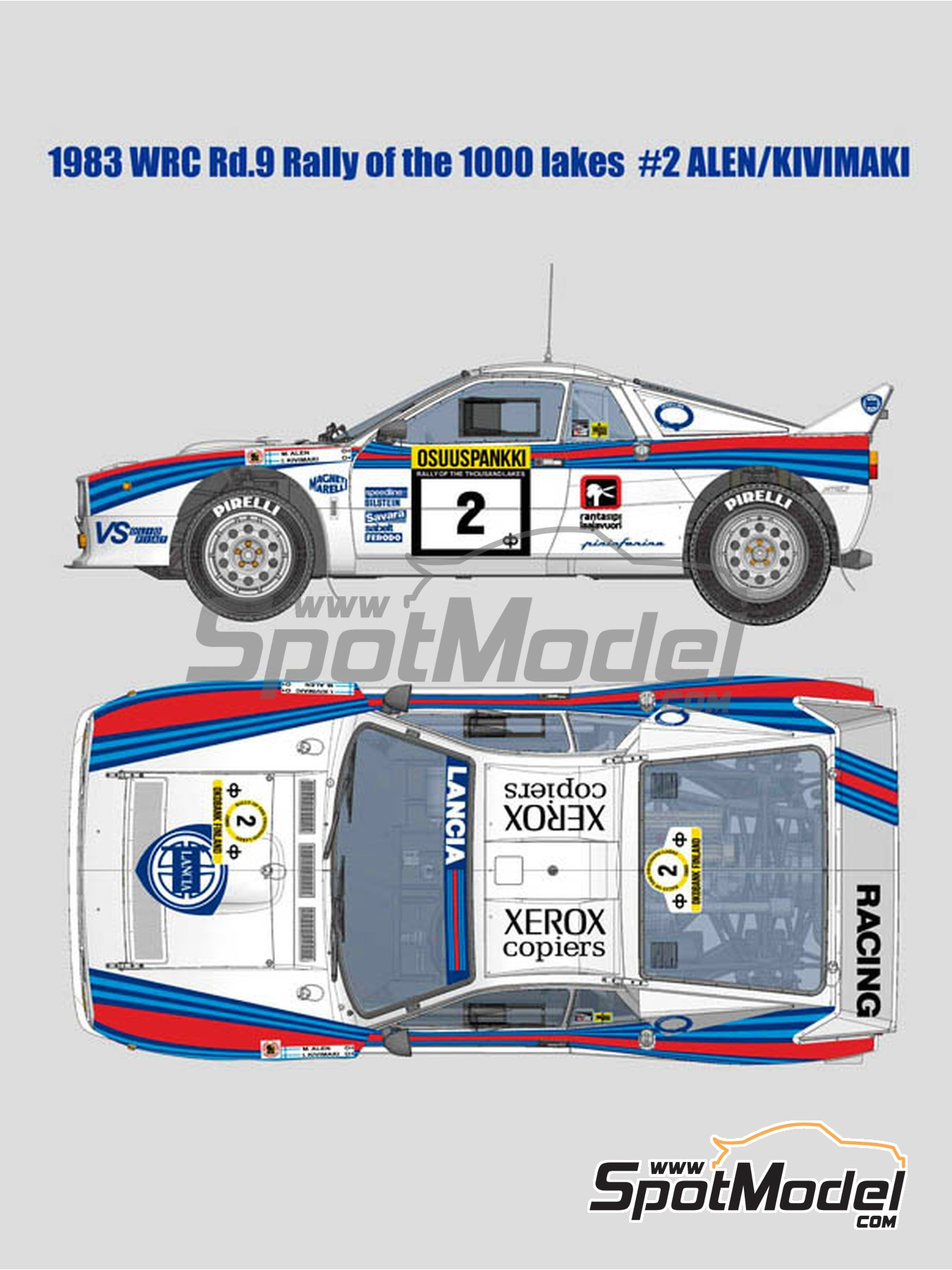 Lancia Rally 037 Martini Racing - 1000 Lakes Finland Rally 1983 | Model car kit in 1/12 scale manufactured by Model Factory Hiro (ref.MFH-K517, also K-517) image