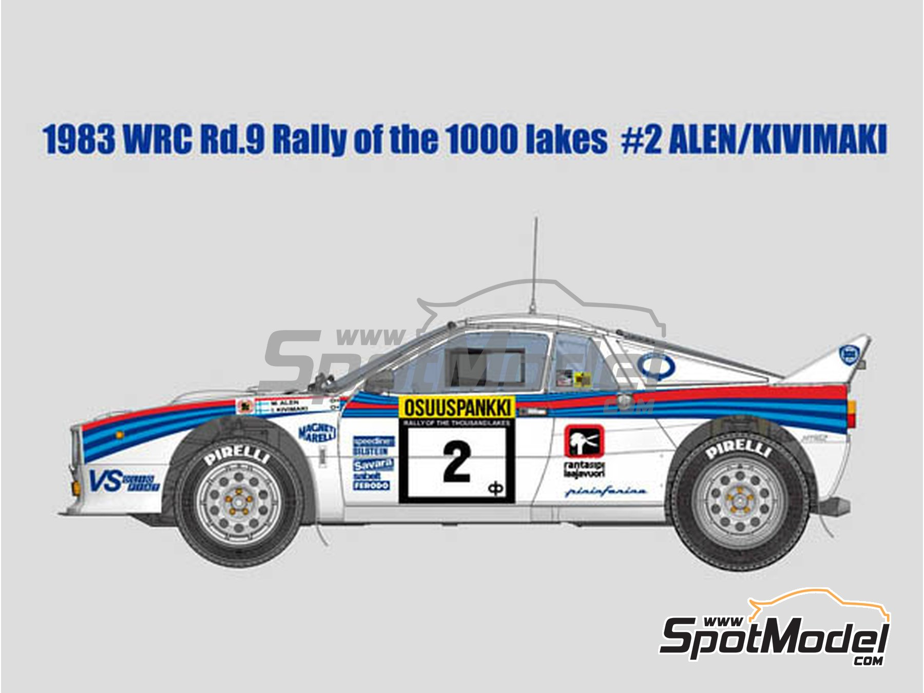 Image 1: Lancia Rally 037 Martini Racing - Rally de los 1000 Lagos Finlandia 1983 | Maqueta de coche en escala1/12 fabricado por Model Factory Hiro (ref.MFH-K517, tambien K-517)