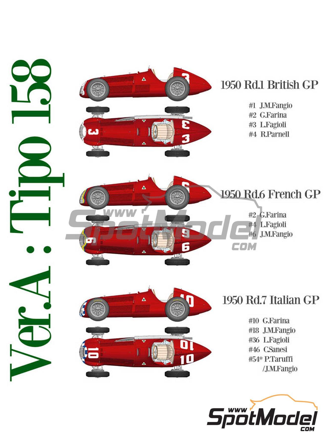 Alfa Romeo 158 Alfetta - French Formula 1 Grand Prix, British Formula 1 Grand Prix, Italian Formula 1 Grand Prix 1950 | Model car kit in 1/12 scale manufactured by Model Factory Hiro (ref.MFH-K519, also K-519) image