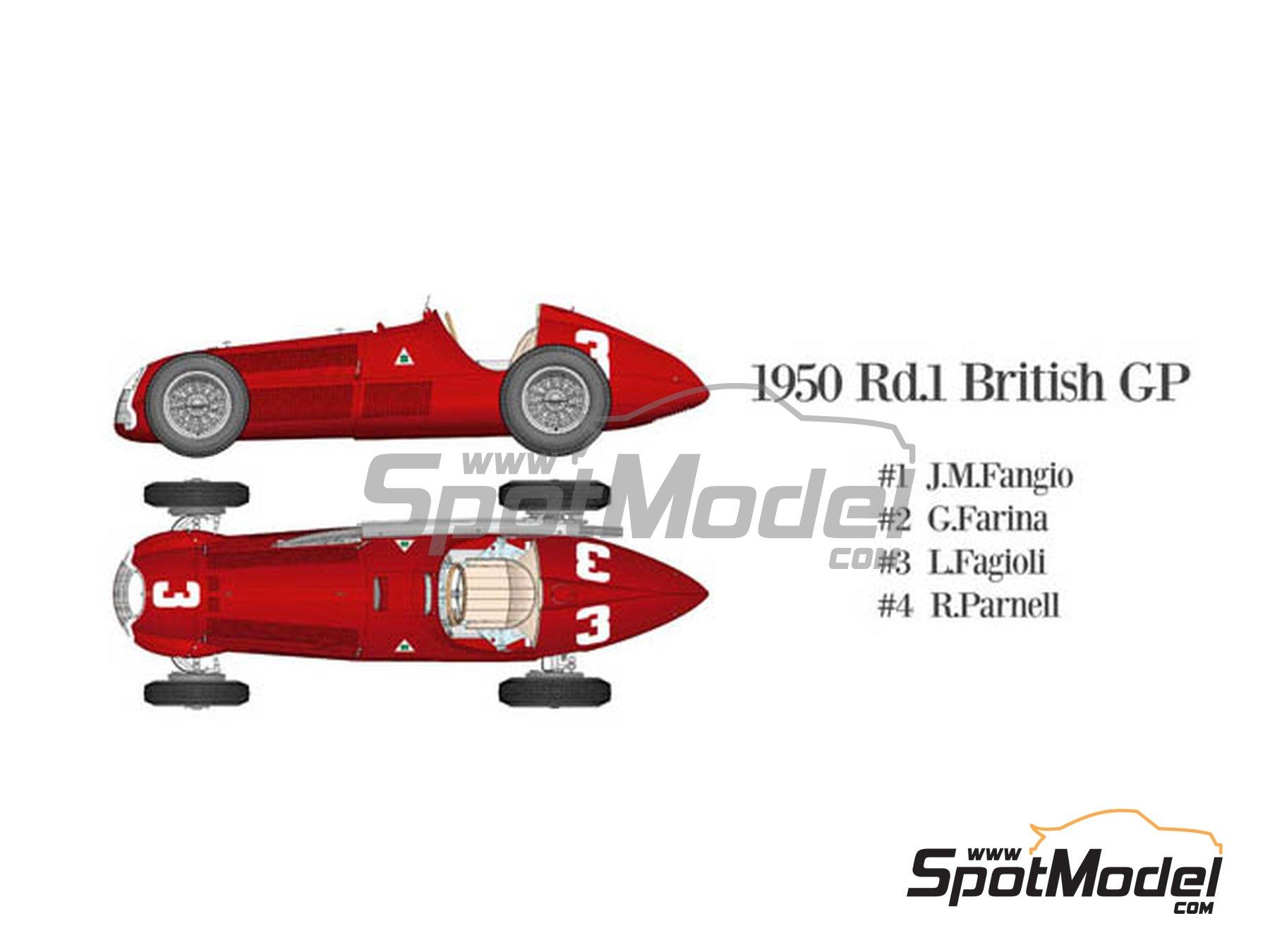 Image 1: Alfa Romeo 158 Alfetta - French Formula 1 Grand Prix, British Formula 1 Grand Prix, Italian Formula 1 Grand Prix 1950 | Model car kit in 1/12 scale manufactured by Model Factory Hiro (ref.MFH-K519, also K-519)