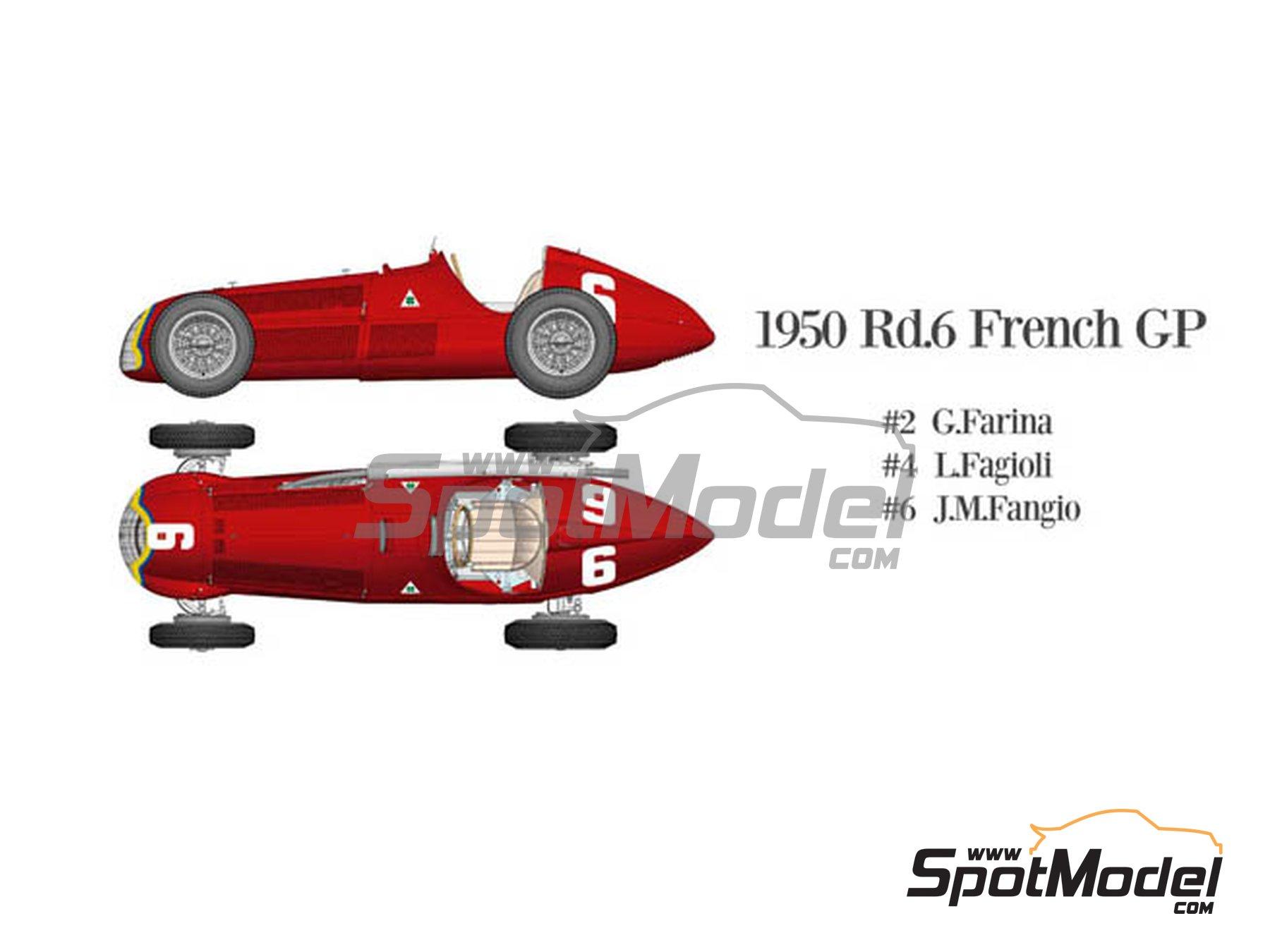 Image 2: Alfa Romeo 158 Alfetta - French Formula 1 Grand Prix, British Formula 1 Grand Prix, Italian Formula 1 Grand Prix 1950 | Model car kit in 1/12 scale manufactured by Model Factory Hiro (ref.MFH-K519, also K-519)
