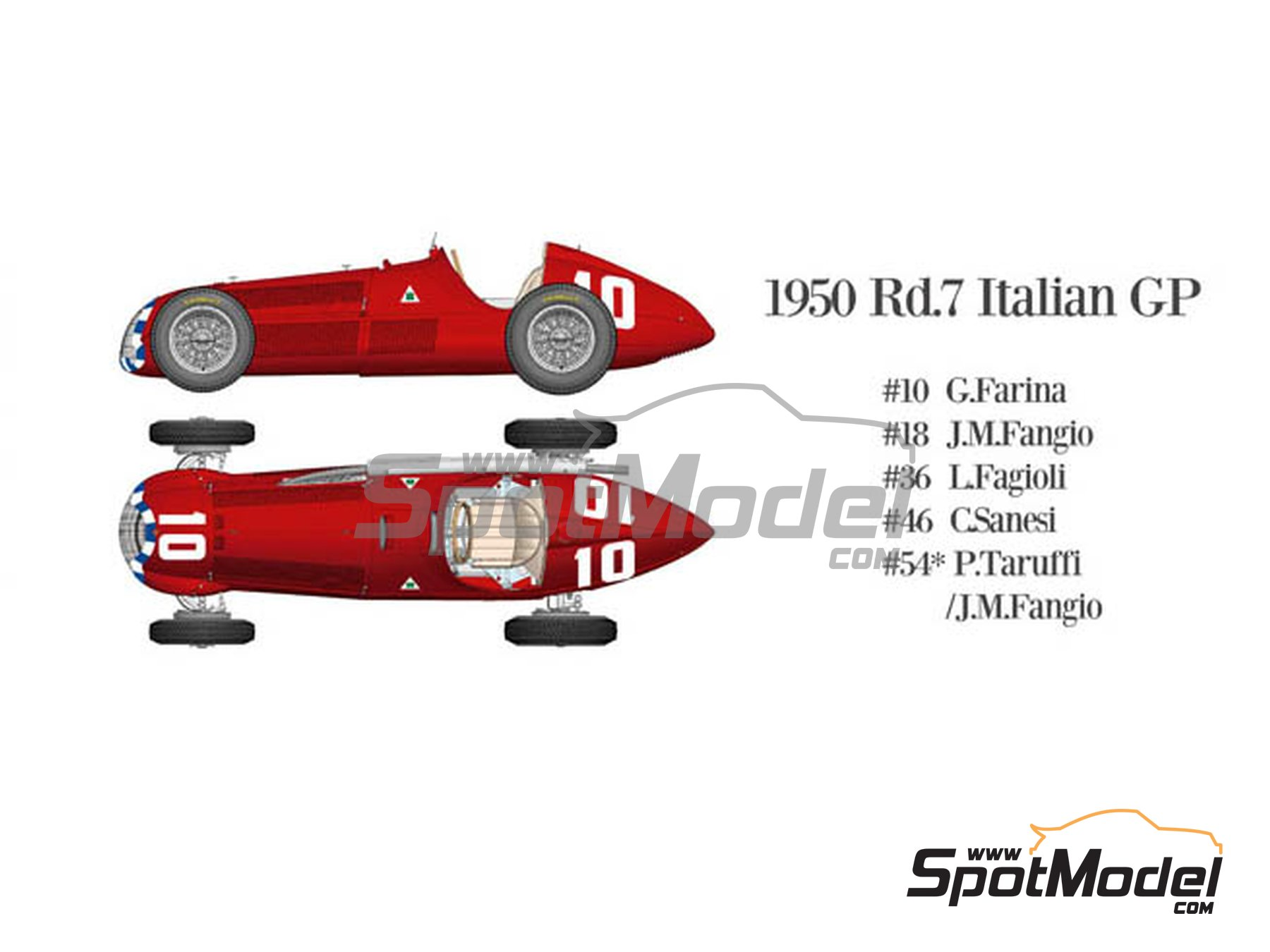 Image 3: Alfa Romeo 158 Alfetta - French Formula 1 Grand Prix, British Formula 1 Grand Prix, Italian Formula 1 Grand Prix 1950 | Model car kit in 1/12 scale manufactured by Model Factory Hiro (ref.MFH-K519, also K-519)