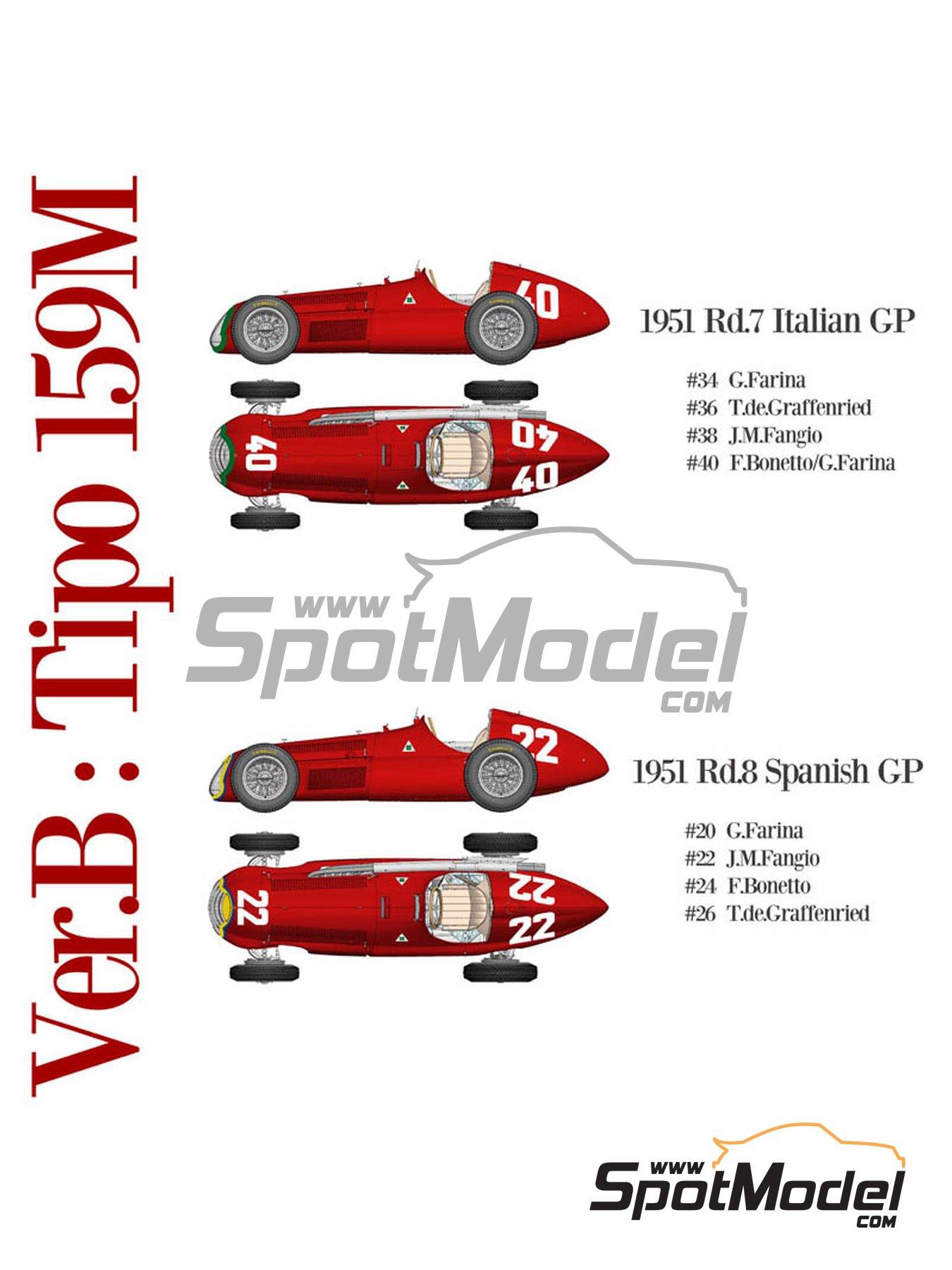 Alfa Romeo 159 Alfetta - Spanish Formula 1 Grand Prix, Italian Formula 1 Grand Prix 1951 | Model car kit in 1/12 scale manufactured by Model Factory Hiro (ref.MFH-K520, also K-520) image