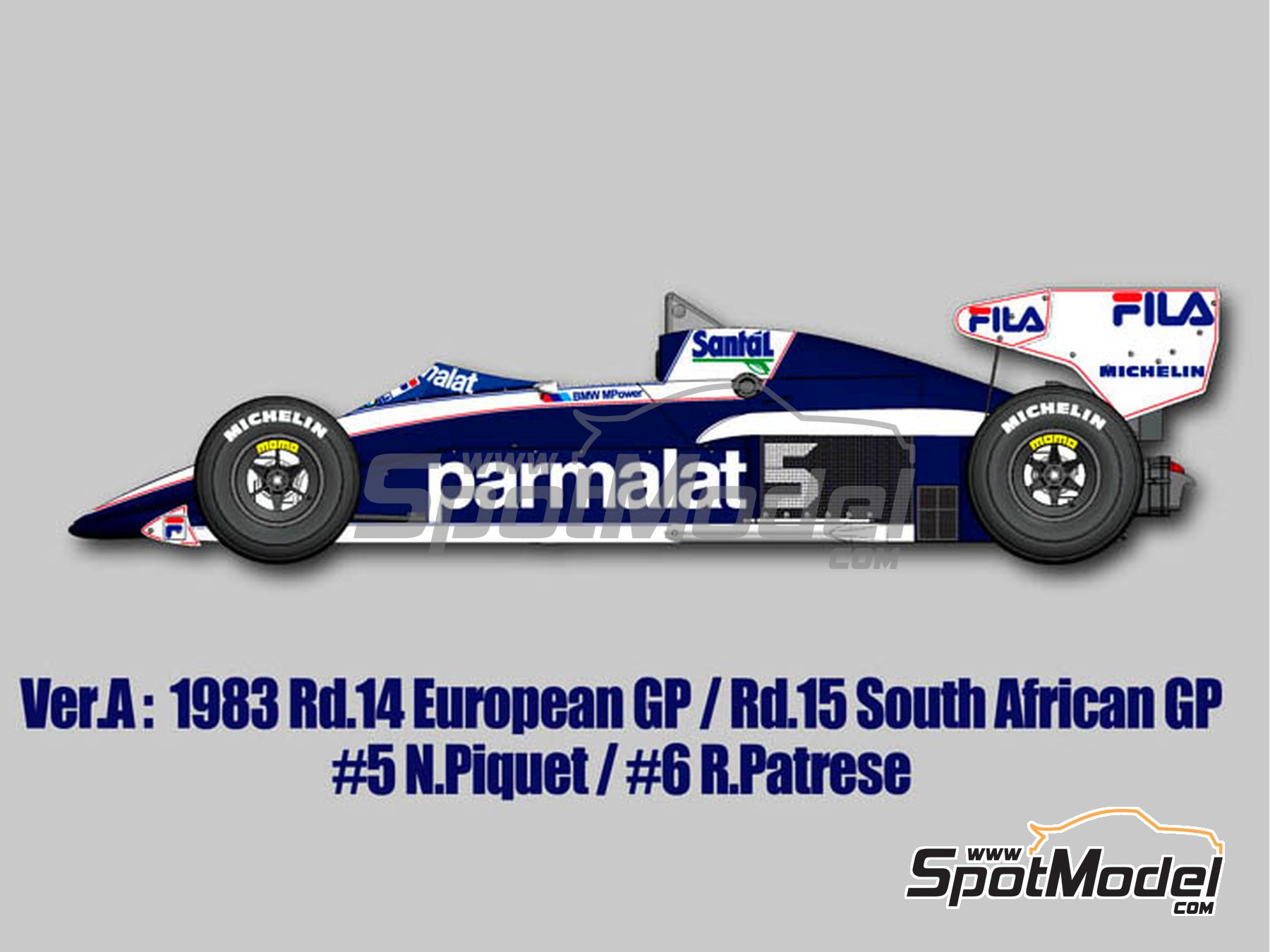 Image 1: Brabham BMW BT52B Parmalat - European Formula 1 Grand Prix, South African Formula 1 Grand Prix 1983 | Model car kit in 1/12 scale manufactured by Model Factory Hiro (ref.MFH-K524, also K-524)