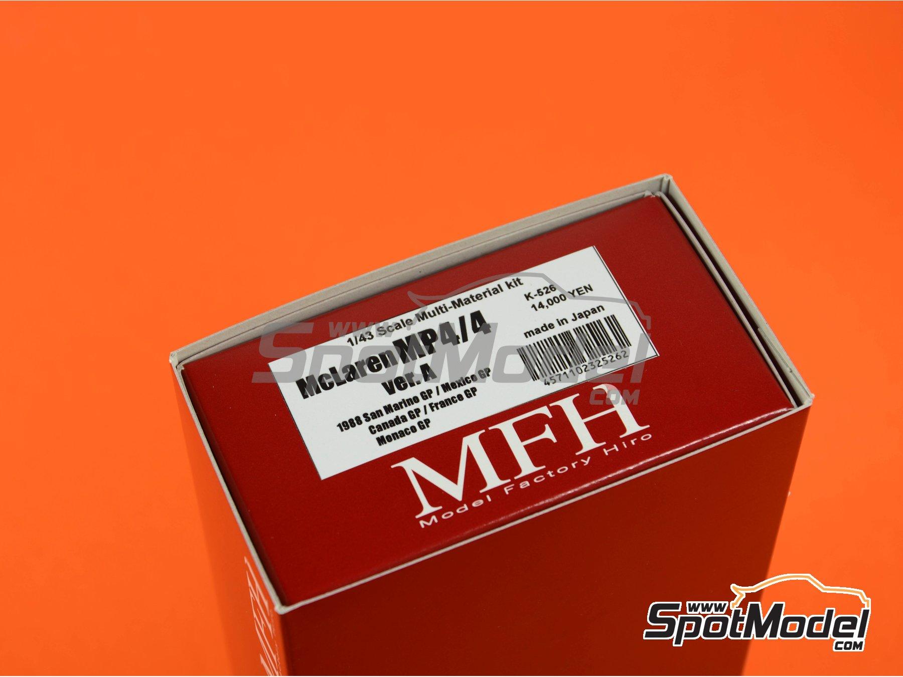 Image 11: McLaren Honda MP4/4 Marlboro - Gran Premio de Fórmula 1 de Canada, Gran Premio de Fórmula 1 de Francia, Gran Premio de Formula 1 de Mónaco, Gran Premio de Fórmula 1 de San Marino, Gran Premio de Detroit 1988 | Maqueta de coche en escala1/43 fabricado por Model Factory Hiro (ref.MFH-K526, tambien K-526)