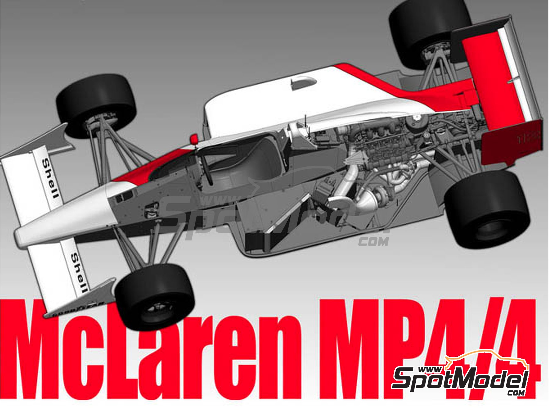 Image 1: McLaren Honda MP4/4 - British Grand Prix, Monaco Grand Prix 1988 | Model car kit in 1/43 scale manufactured by Model Factory Hiro (ref. MFH-K527)