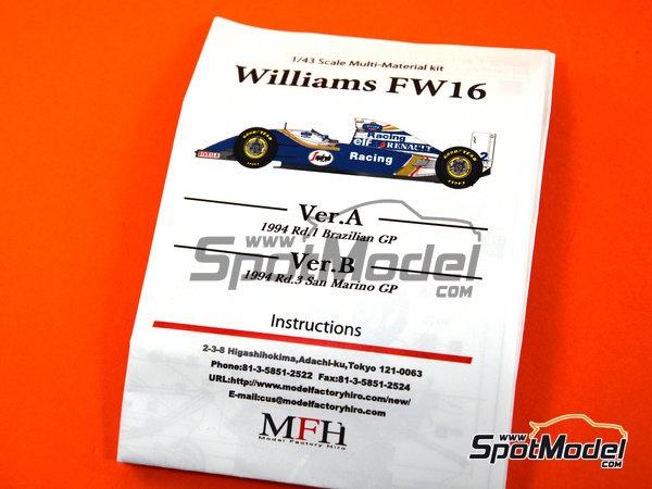 Image 9: Williams Renault FW16 Rothmand - Gran Premio de Brasil 1994 | Maqueta de coche en escala1/43 fabricado por Model Factory Hiro (ref.MFH-K535)