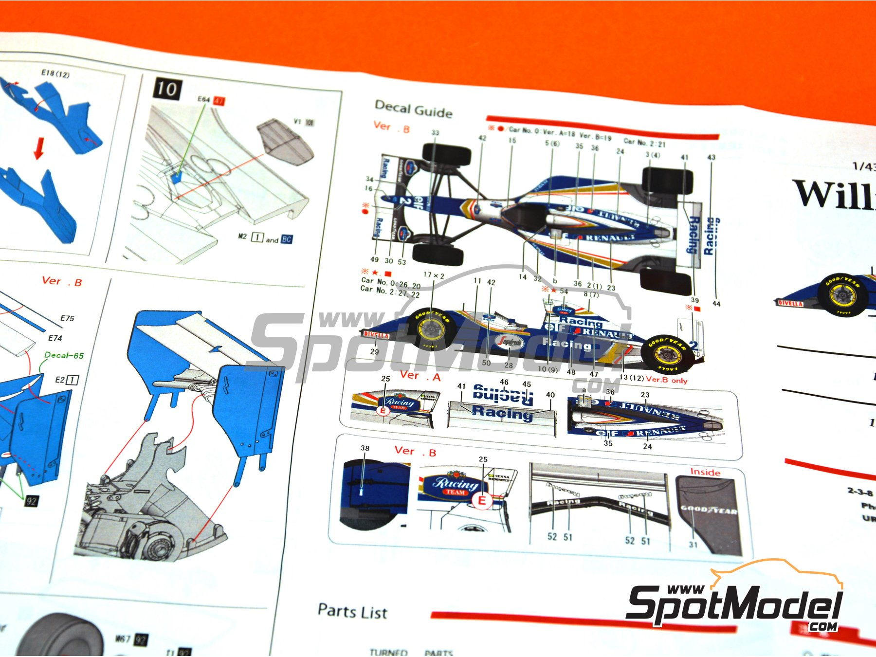 Image 11: Williams Renault FW16 Rothmans - San Marino Grand Prix 1994 | Model car kit in 1/43 scale manufactured by Model Factory Hiro (ref.MFH-K536)