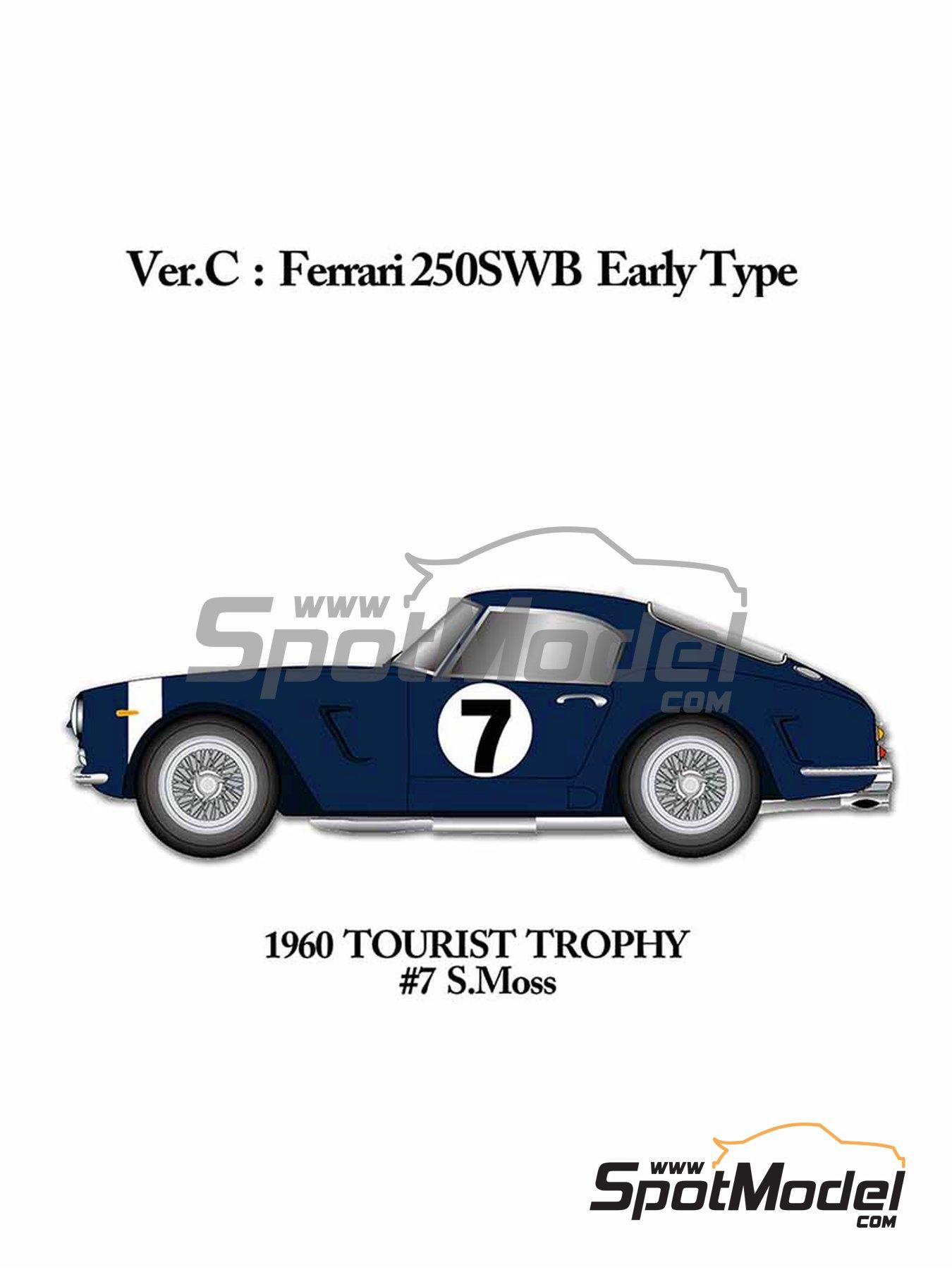 Ferrari 250GT SWB Early Rob Walker Racing - RAC Tourist Trophy 1960 | Maqueta de coche en escala1/24 fabricado por Model Factory Hiro (ref.MFH-K541) image