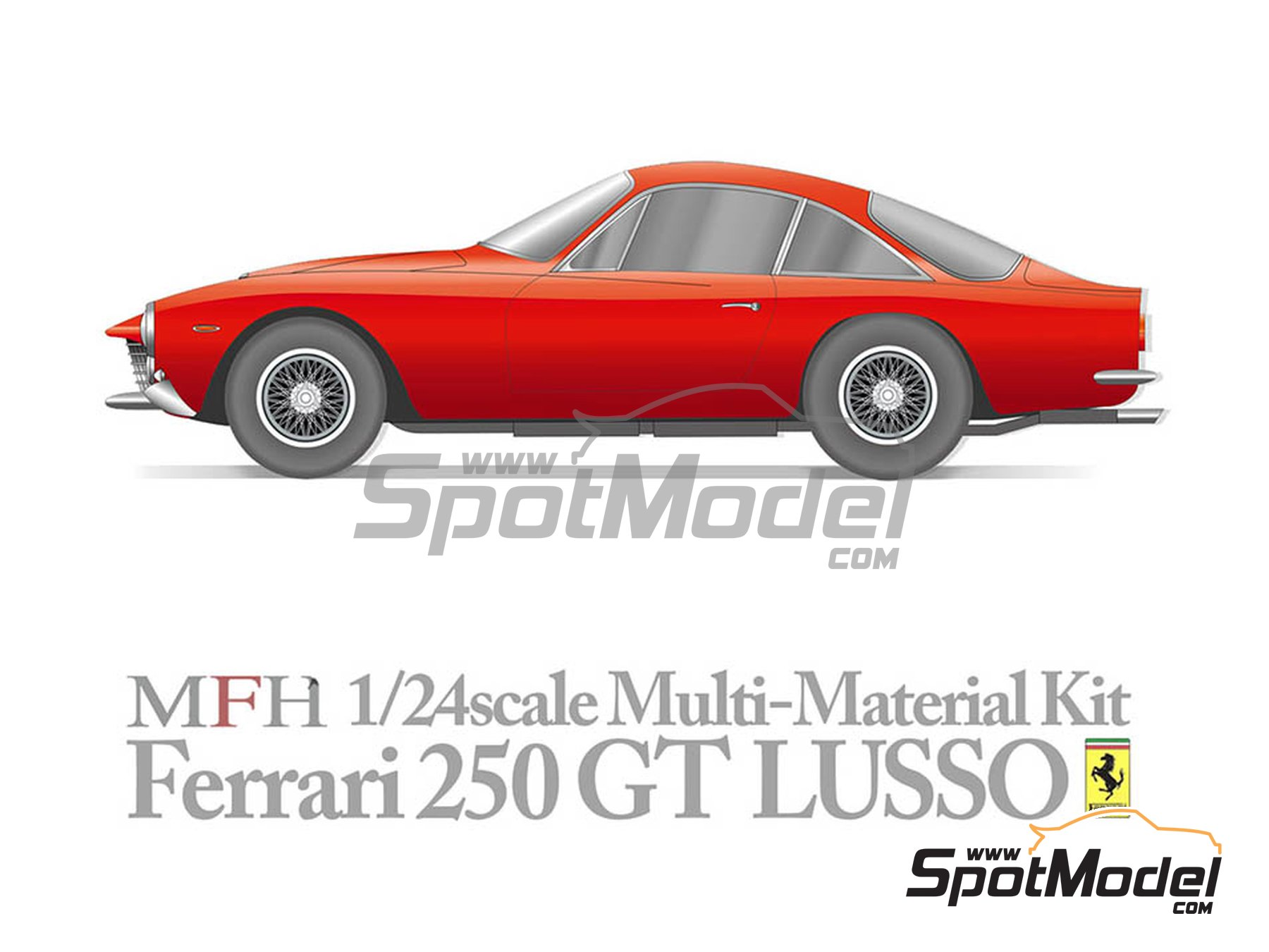 Image 1: Ferrari 250 GT Lusso | Model car kit in 1/24 scale manufactured by Model Factory Hiro (ref. MFH-K543, also K-543)