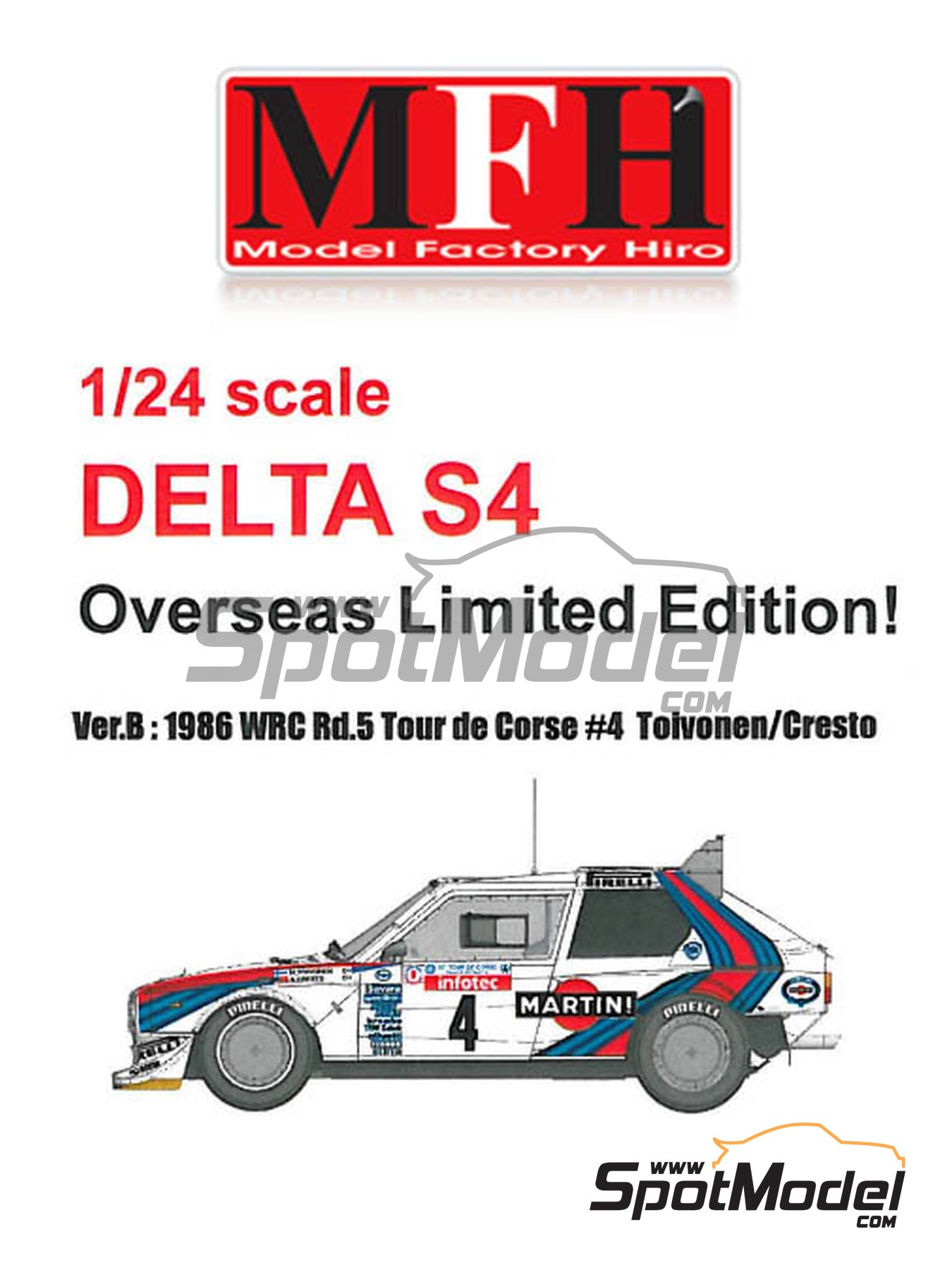 Lancia Delta S4 - Tour de Corse 1986 | Model car kit in 1/24 scale manufactured by Model Factory Hiro (ref. MFH-K545) image