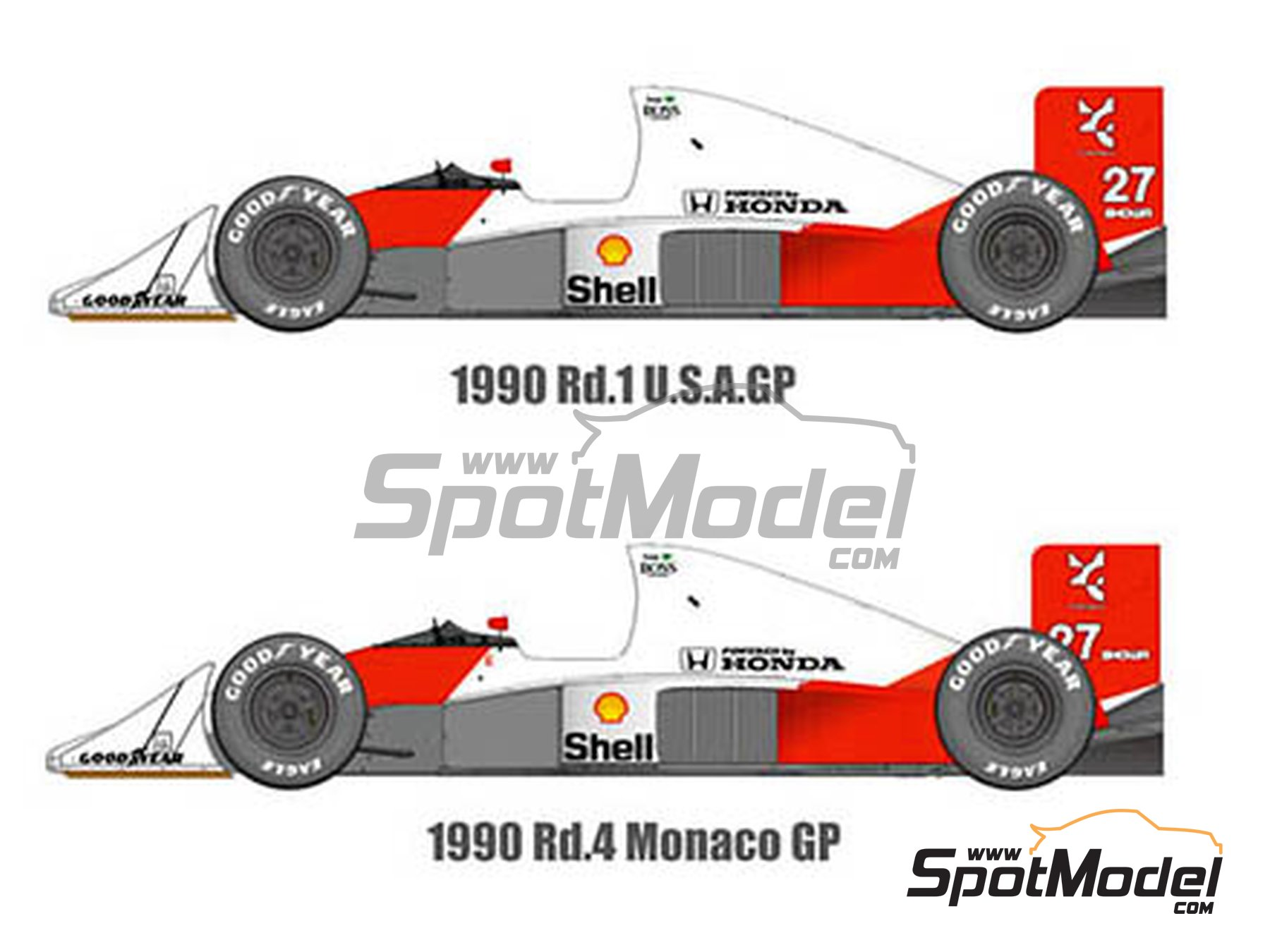 Image 1: McLaren Honda MP4/5B Marlboro - Monaco Formula 1 Grand Prix, USA Grand Prix 1990 | Model car kit in 1/43 scale manufactured by Model Factory Hiro (ref. MFH-K546)