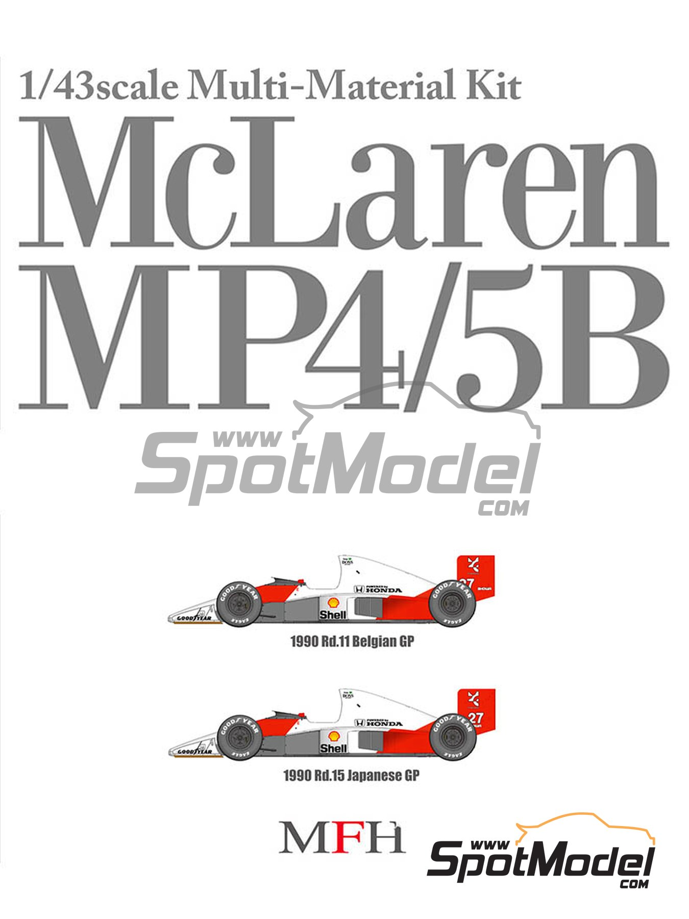 McLaren Honda MP4/5B Marlboro - Belgian Grand Prix, Japan Grand Prix 1990 | Model car kit in 1/43 scale manufactured by Model Factory Hiro (ref. MFH-K547) image