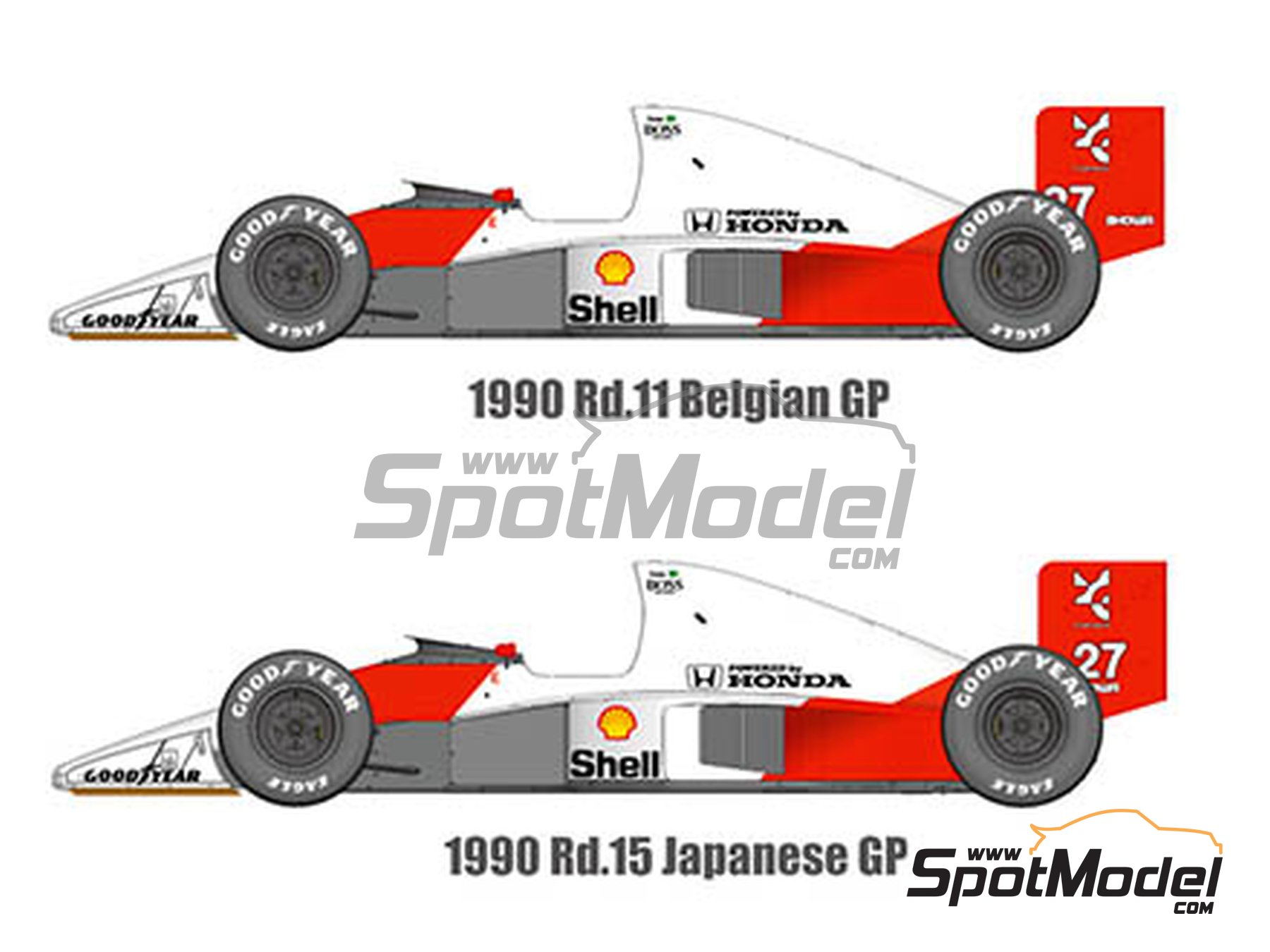 Image 1: McLaren Honda MP4/5B Marlboro - Belgian Grand Prix, Japan Grand Prix 1990 | Model car kit in 1/43 scale manufactured by Model Factory Hiro (ref. MFH-K547)