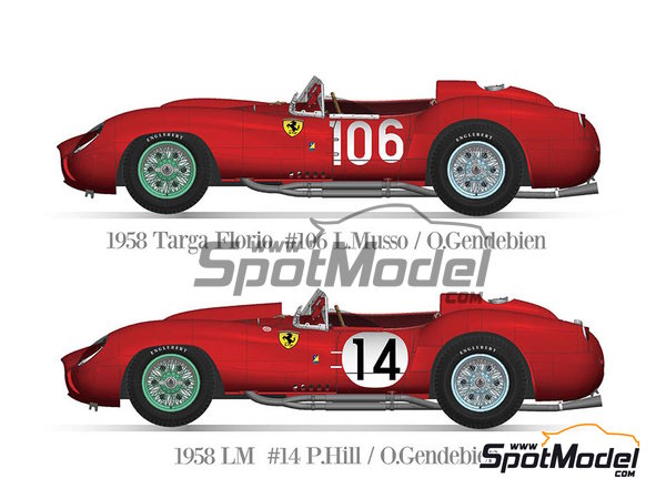 Image 1: Ferrari 250TR 58 - 24 Hours Le Mans, Targa Florio 1958 | Model car kit in 1/12 scale manufactured by Model Factory Hiro (ref. MFH-K551)