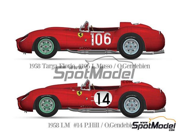 Image 1: Ferrari 250TR 58 - 24 Hours Le Mans, Targa Florio 1958 | Model car kit in 1/12 scale manufactured by Model Factory Hiro (ref.MFH-K551)