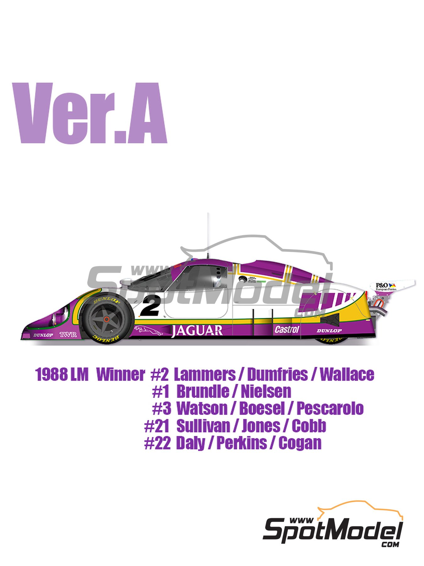 Jaguar XJR-9 - 24 Hours Le Mans 1988 | Model car kit in 1/12 scale manufactured by Model Factory Hiro (ref. MFH-K554) image