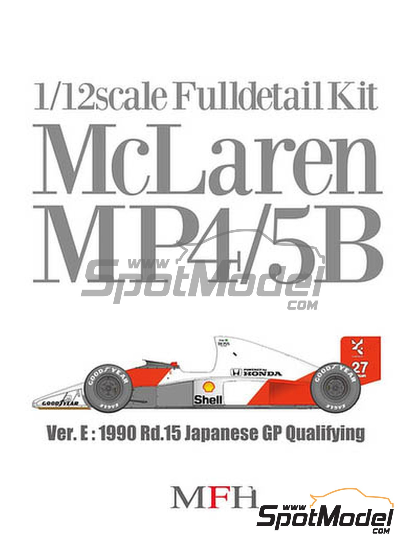 McLaren Honda MP4/5B Marlboro - Japanese Formula 1 Grand Prix 1990 | Model car kit in 1/12 scale manufactured by Model Factory Hiro (ref. MFH-K556, also K-556) image