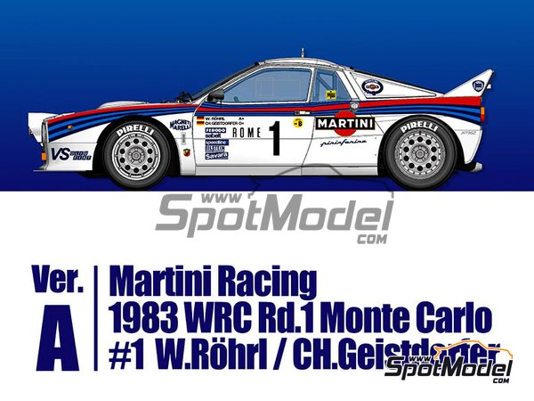Image 1: Lancia 037 Rally Martini Racing Team - Montecarlo Rally 1983 | Model car kit in 1/43 scale manufactured by Model Factory Hiro (ref.MFH-K557)