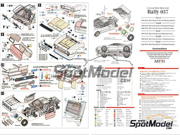 Image 7: Lancia 037 Rally Martini Racing Team - Rally de Montecarlo 1983 | Maqueta de coche en escala1/43 fabricado por Model Factory Hiro (ref.MFH-K557, tambien K-557)