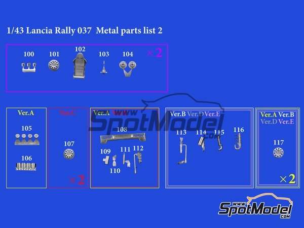 Image 11: Lancia 037 Rally Martini Racing Team - Montecarlo Rally 1983 | Model car kit in 1/43 scale manufactured by Model Factory Hiro (ref.MFH-K557)