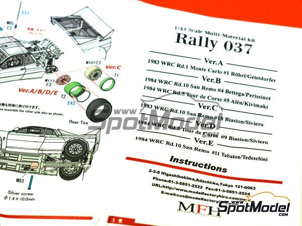 Image 27: Lancia 037 Rally Martini Racing Team - Rally de Montecarlo 1983 | Maqueta de coche en escala1/43 fabricado por Model Factory Hiro (ref.MFH-K557, tambien K-557)