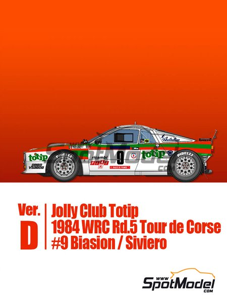 Lancia 037 Rally Jolly Club Totip - Tour de Corse 1984 | Model car kit in 1/43 scale manufactured by Model Factory Hiro (ref. MFH-K560, also K-560) image