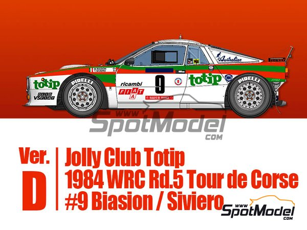 Image 1: Lancia 037 Rally Jolly Club Totip - Tour de Corse 1984 | Model car kit in 1/43 scale manufactured by Model Factory Hiro (ref. MFH-K560, also K-560)