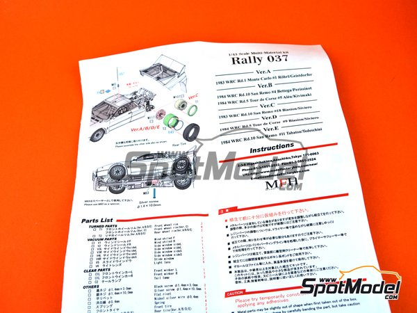Image 21: Lancia 037 Rally Jolly Club Totip - Tour de Corse 1984 | Model car kit in 1/43 scale manufactured by Model Factory Hiro (ref.MFH-K560)