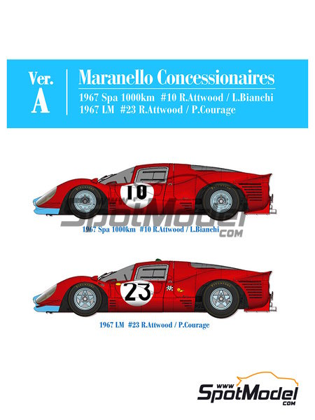 Ferrari 412P Maranello Concessionaires - 24 Hours Le Mans, 1000 Kms SPA | Model car kit in 1/12 scale manufactured by Model Factory Hiro (ref. MFH-K562) image
