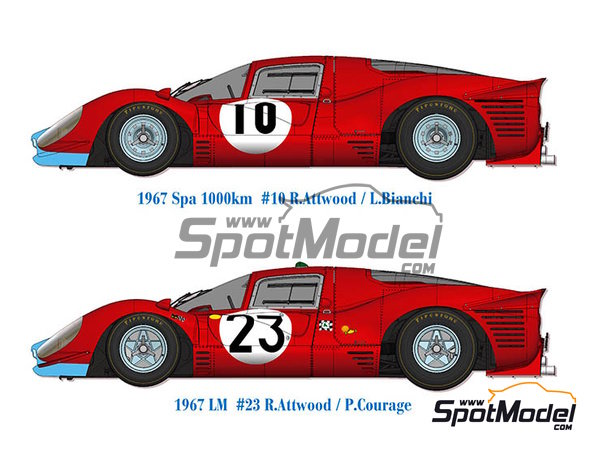Image 1: Ferrari 412P - 24 Hours Le Mans, 1000 Kms SPA | Model car kit in 1/12 scale manufactured by Model Factory Hiro (ref.MFH-K562)