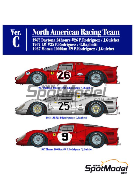 Ferrari 412P North American Racing Team -  1967 | Model car kit in 1/12 scale manufactured by Model Factory Hiro (ref. MFH-K564) image