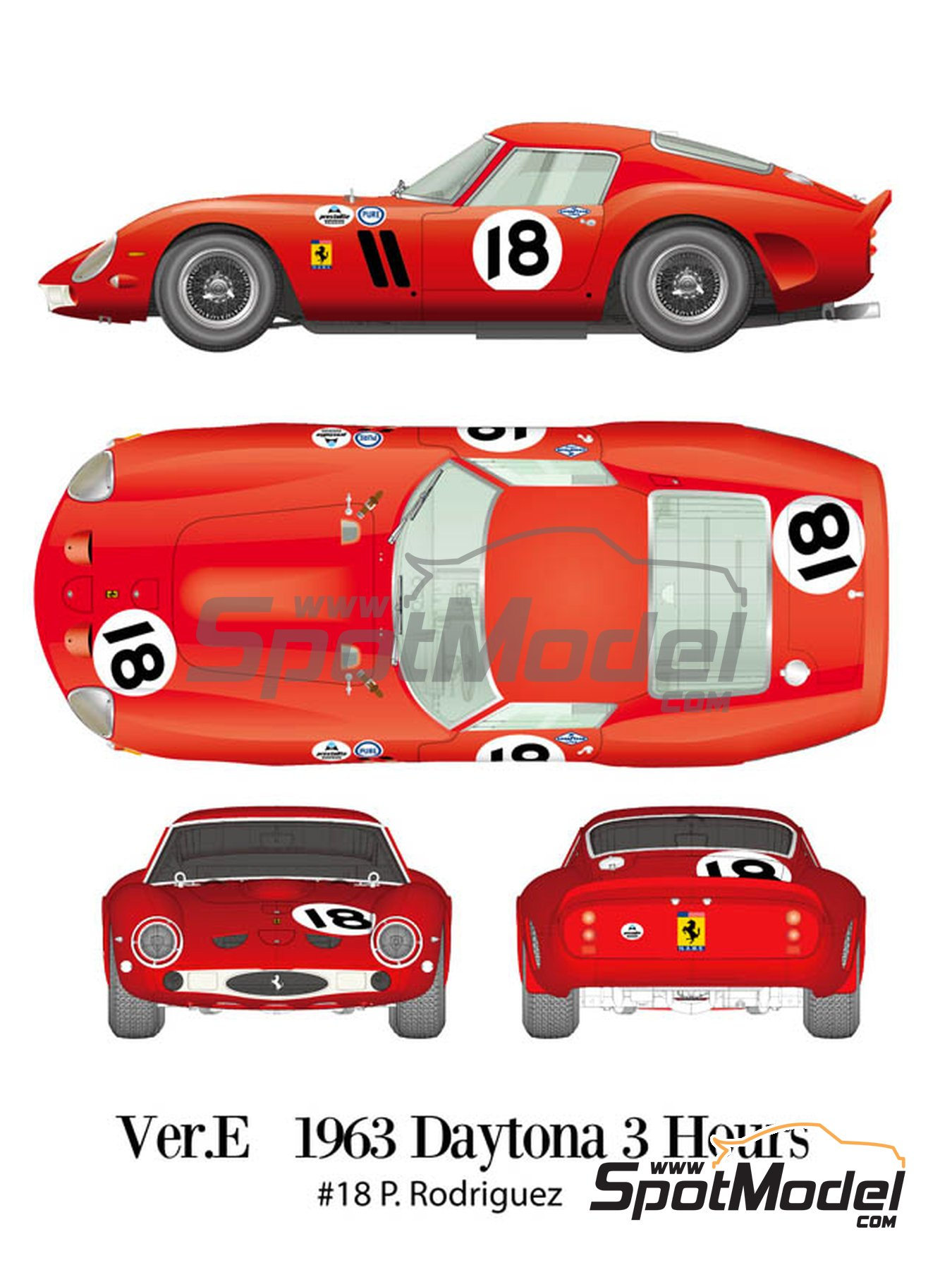 Ferrari 250 GTO - Daytona 3 Hours 1963 | Model car kit in 1/12 scale manufactured by Model Factory Hiro (ref. MFH-K566, also K-566) image