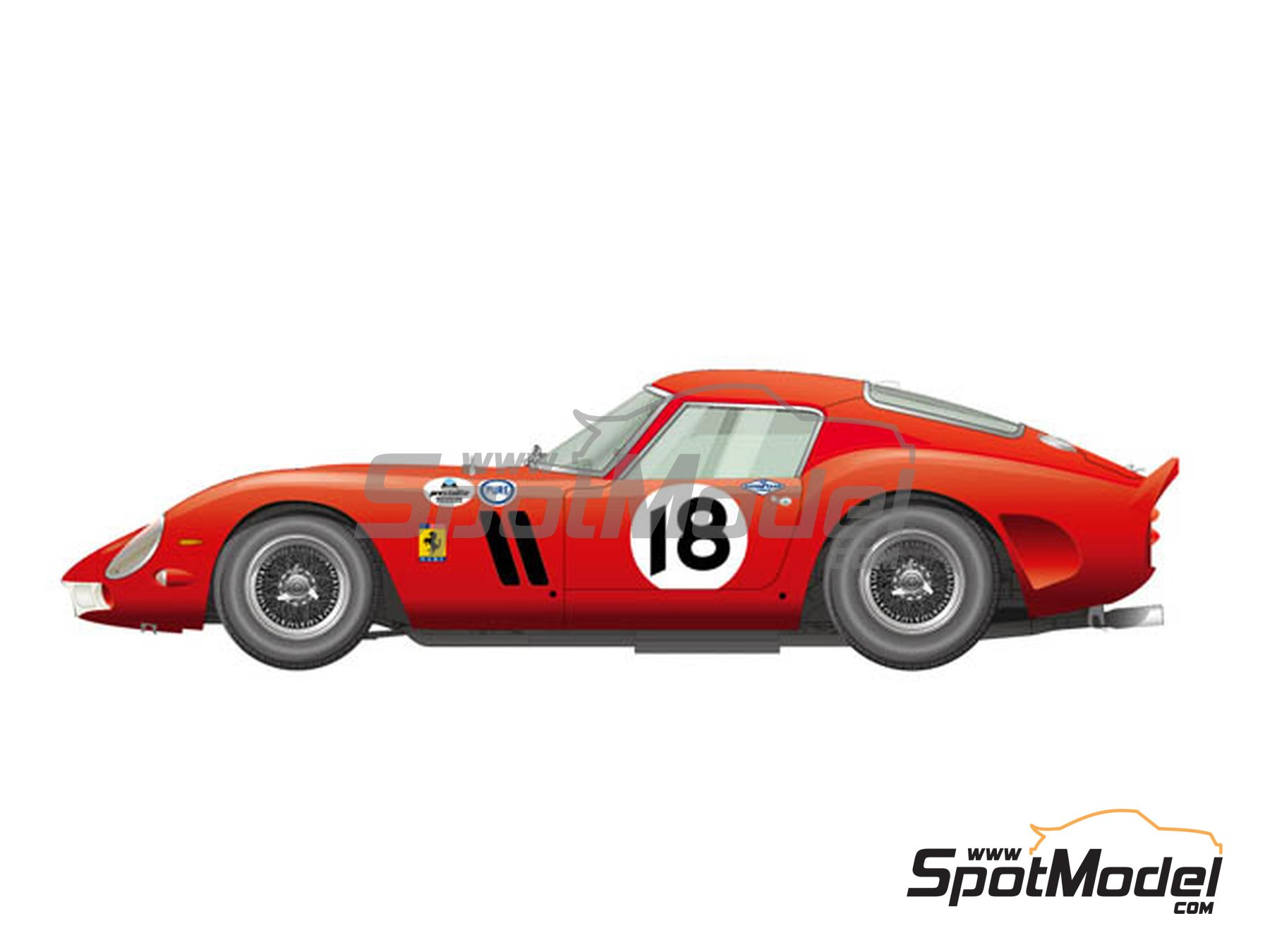 Image 1: Ferrari 250 GTO - Daytona 3 Hours 1963 | Model car kit in 1/12 scale manufactured by Model Factory Hiro (ref. MFH-K566, also K-566)