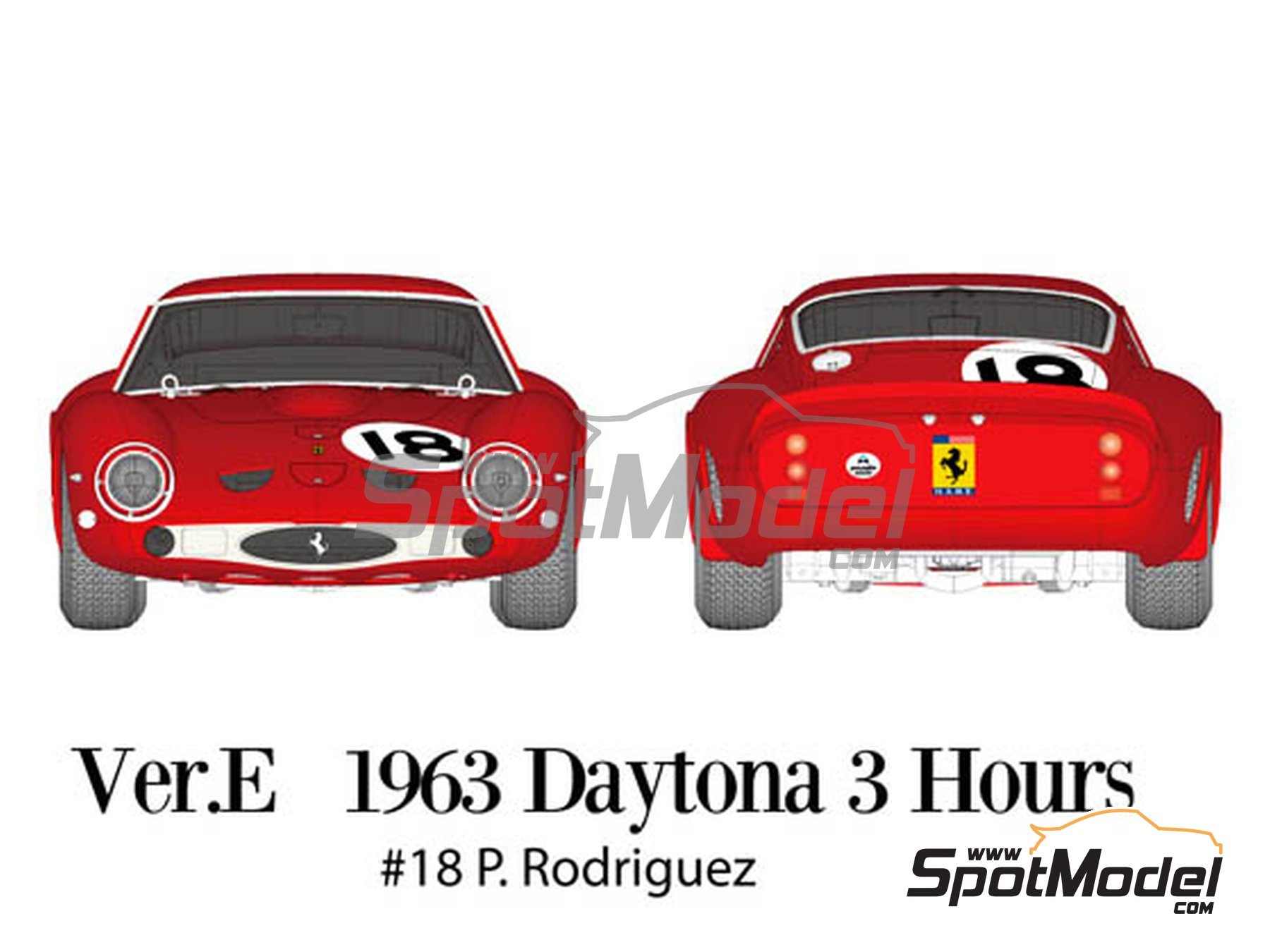 Image 3: Ferrari 250 GTO - Daytona 3 Hours 1963 | Model car kit in 1/12 scale manufactured by Model Factory Hiro (ref. MFH-K566, also K-566)
