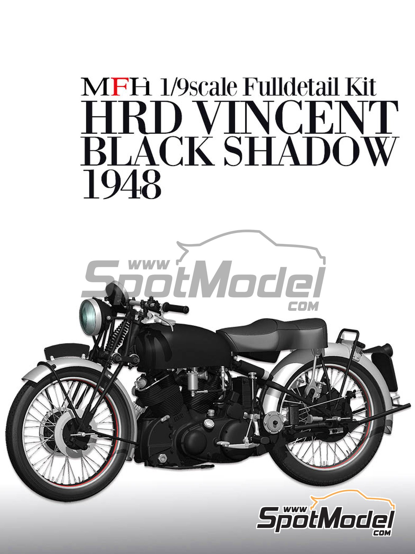 Vincent Black Shadow -  1948 | Model bike kit in 1/9 scale manufactured by Model Factory Hiro (ref. MFH-K567, also K-567) image