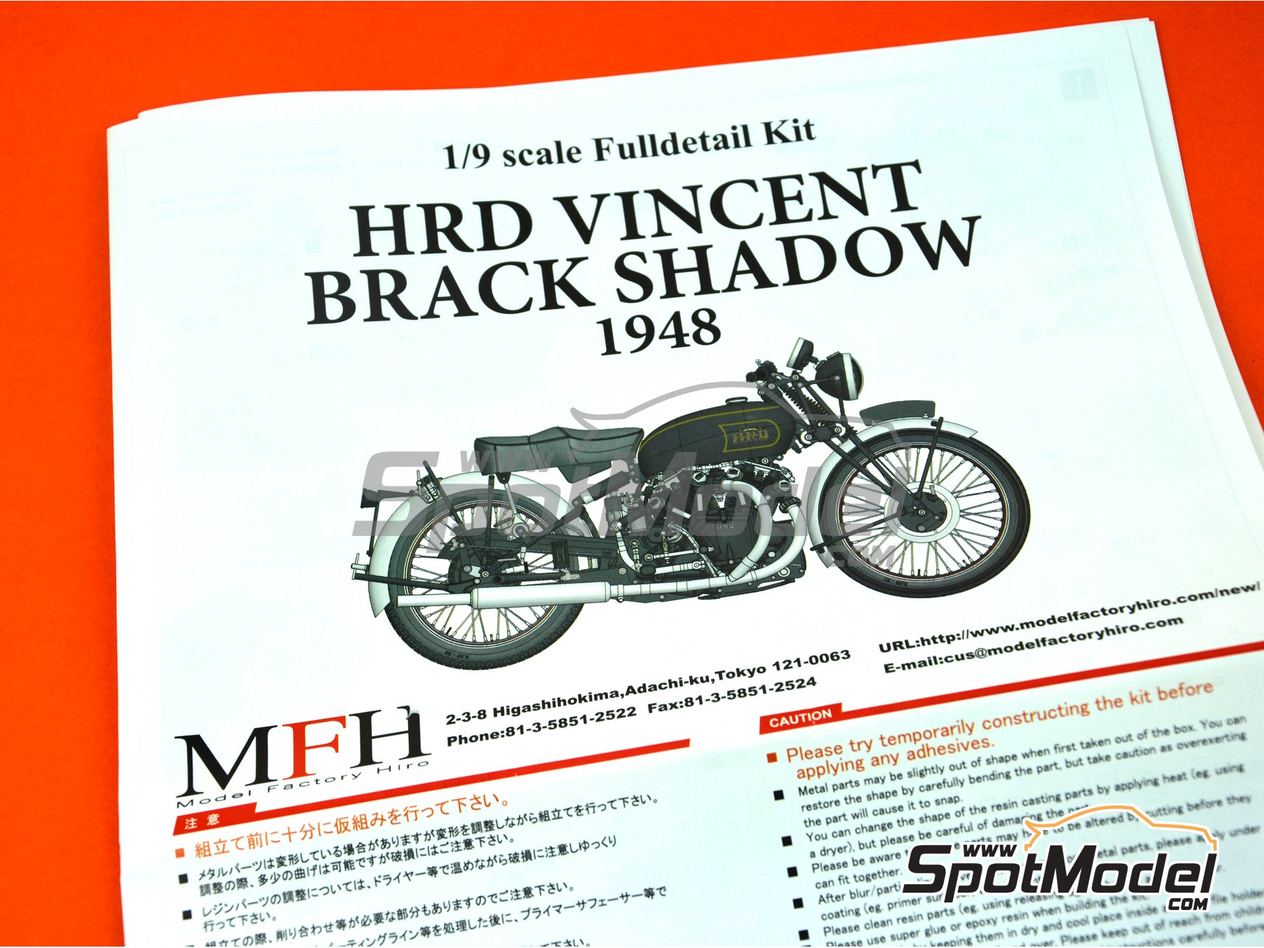 Image 22: Vincent Black Shadow -  1948 | Model bike kit in 1/9 scale manufactured by Model Factory Hiro (ref. MFH-K567, also K-567)