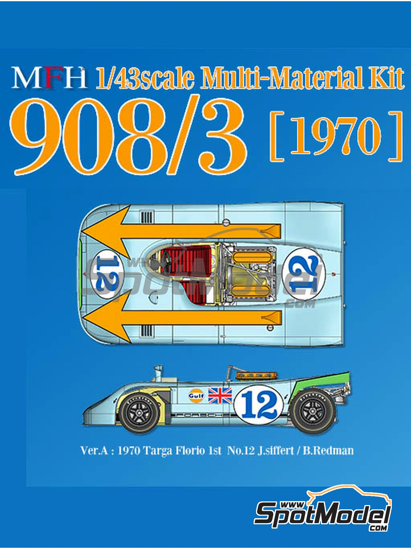 Porsche 908/3 - Targa Florio 1970 | Model car kit in 1/43 scale manufactured by Model Factory Hiro (ref. MFH-K570) image