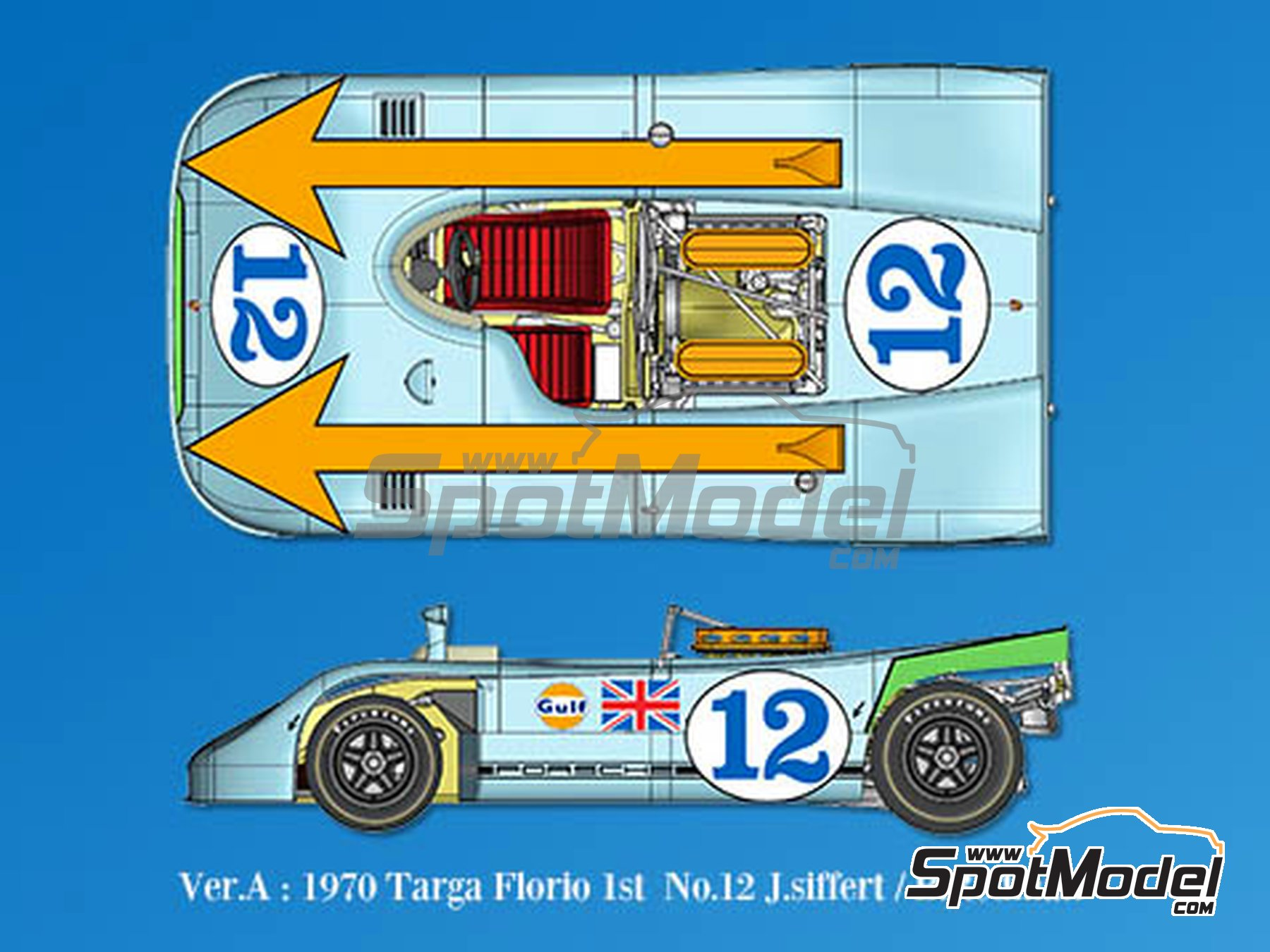 Image 1: Porsche 908/3 - Targa Florio 1970 | Model car kit in 1/43 scale manufactured by Model Factory Hiro (ref. MFH-K570)