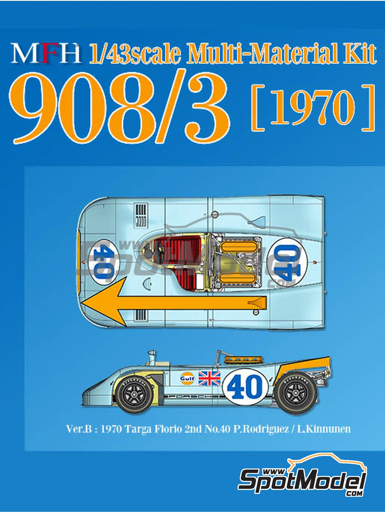 Porsche 908/3 - Targa Florio 1970 | Model car kit in 1/43 scale manufactured by Model Factory Hiro (ref. MFH-K571) image