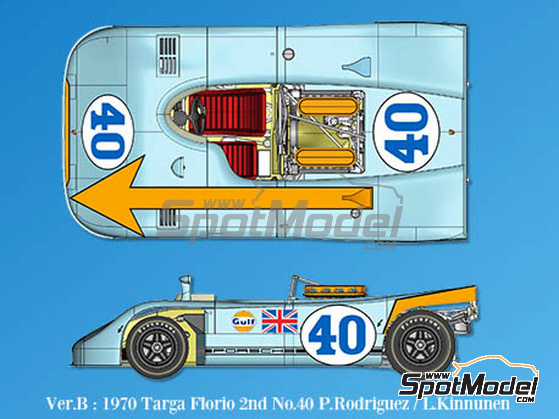 Image 1: Porsche 908/3 - Targa Florio 1970 | Model car kit in 1/43 scale manufactured by Model Factory Hiro (ref. MFH-K571)