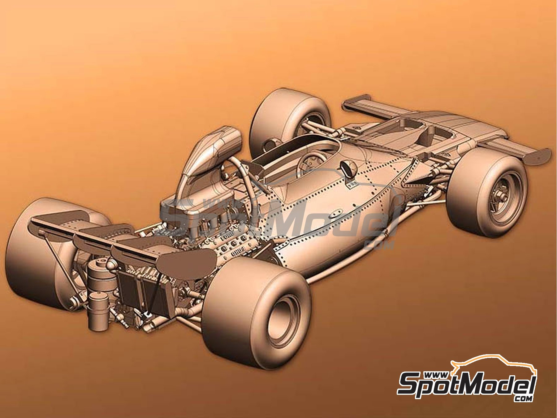 Image 4: McLaren Ford M19A - Canadian Grand Prix, USA Grand Prix 1971 | Model car kit in 1/43 scale manufactured by Model Factory Hiro (ref. MFH-K585)