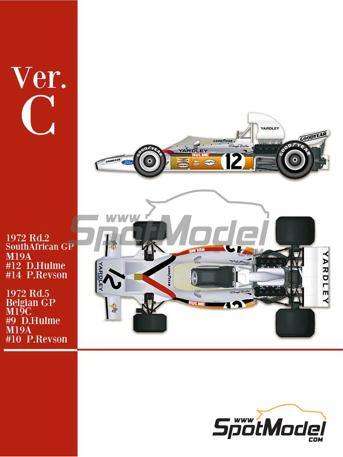 McLaren Ford M19A Yardley - Belgian Formula 1 Grand Prix, South African Formula 1 Grand Prix 1972 | Model car kit in 1/43 scale manufactured by Model Factory Hiro (ref.MFH-K586, also K-586) image
