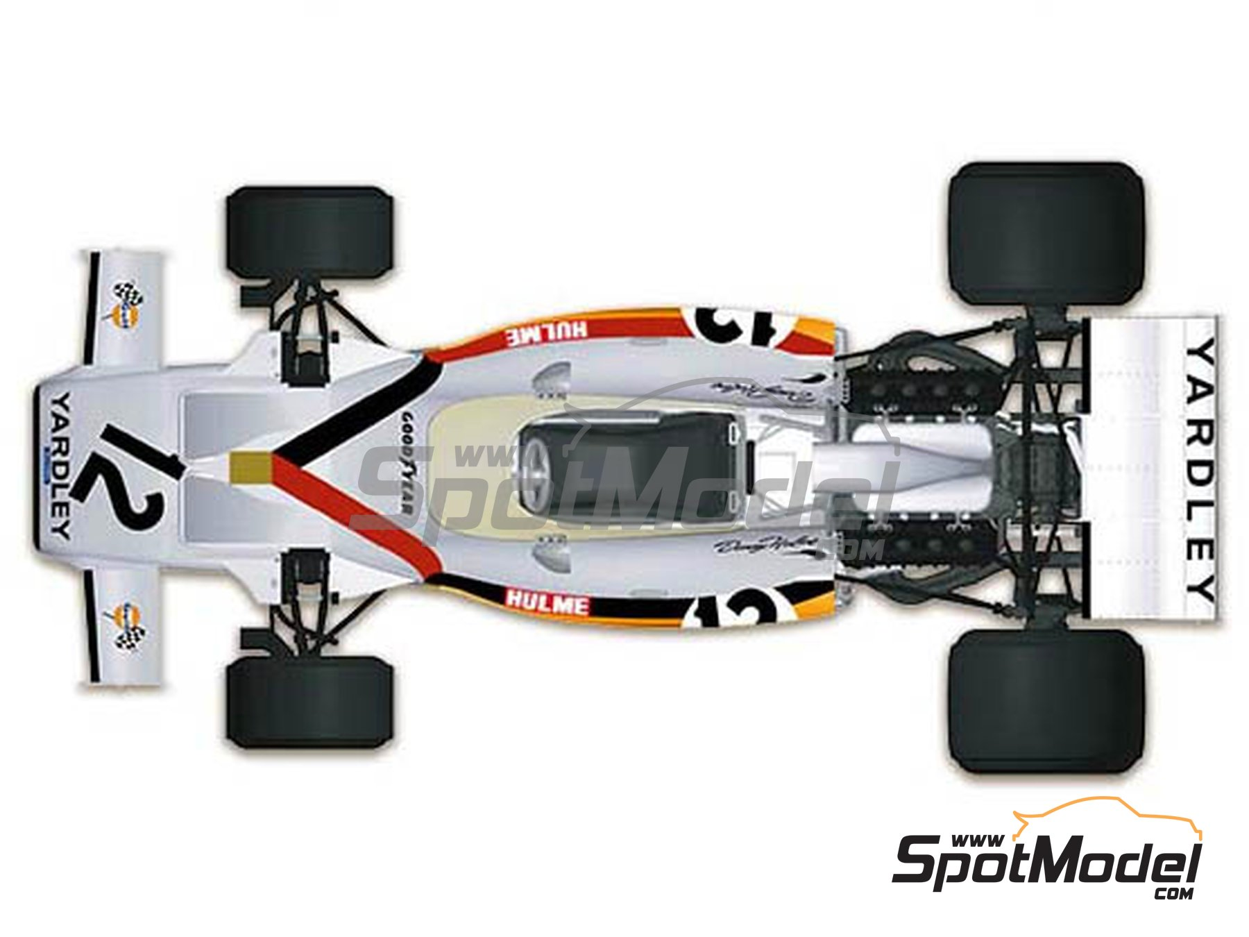 Image 2: McLaren Ford M19A Yardley - Belgian Formula 1 Grand Prix, South African Formula 1 Grand Prix 1972 | Model car kit in 1/43 scale manufactured by Model Factory Hiro (ref.MFH-K586, also K-586)