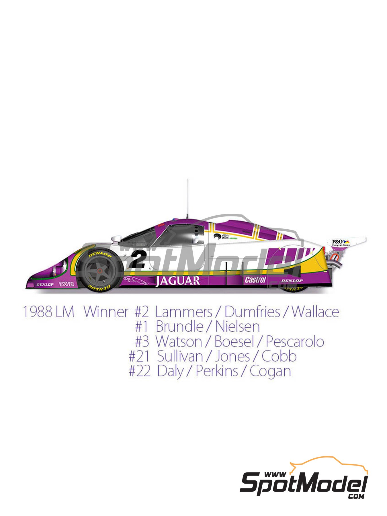 Jaguar XJR-9 LM Silk Cut - 24 Hours Le Mans 1988 | Model car kit in 1/43 scale manufactured by Model Factory Hiro (ref. MFH-K590) image