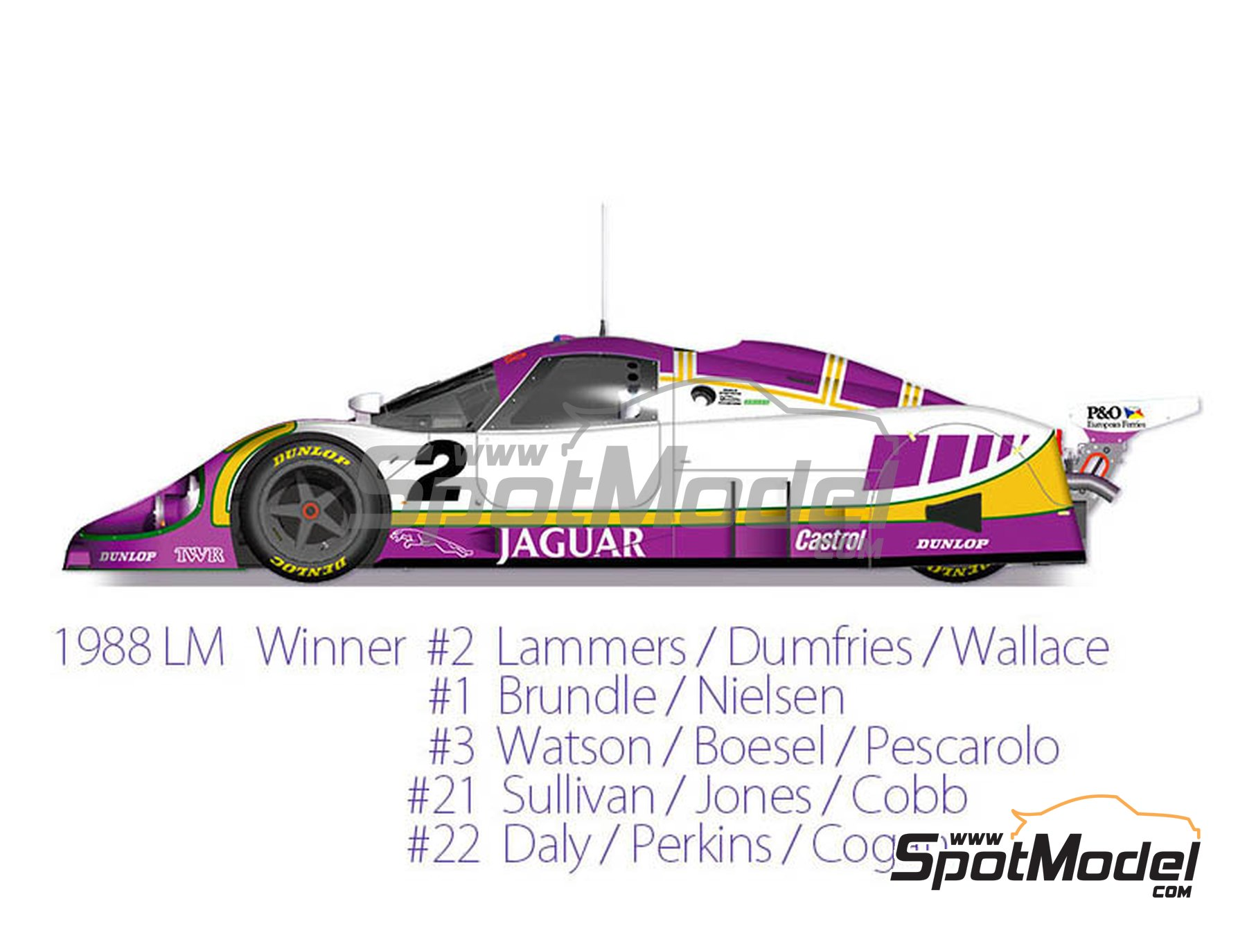 Image 1: Jaguar XJR-9 LM Silk Cut - 24 Hours Le Mans 1988 | Model car kit in 1/43 scale manufactured by Model Factory Hiro (ref. MFH-K590)