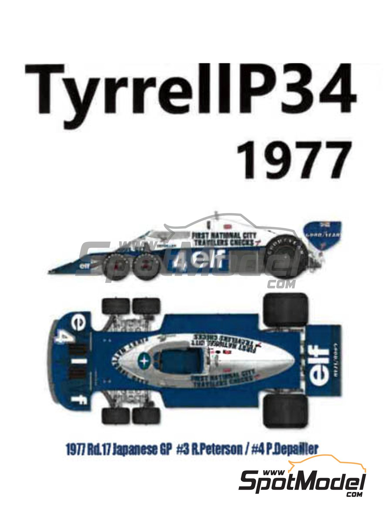 Tyrrell Ford P34 ELF - Austrian Formula 1 Grand Prix, Dutch Formula 1 Grand Prix, Italian Formula 1 Grand Prix, Japanese Formula 1 Grand Prix 1977 | Model car kit in 1/12 scale manufactured by Model Factory Hiro (ref. MFH-K599, also K-599) image